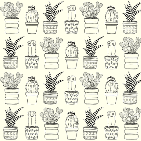 Four Cacti Outline Drawing fabric by carrie_narducci on Spoonflower - custom fabric