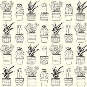 Four Cacti Outline Drawing