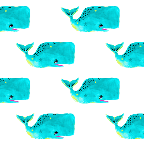 Bright Watercolor Whales with Stars fabric by taraput on Spoonflower - custom fabric