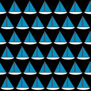 Ocean Blue and White Sailboats on Black