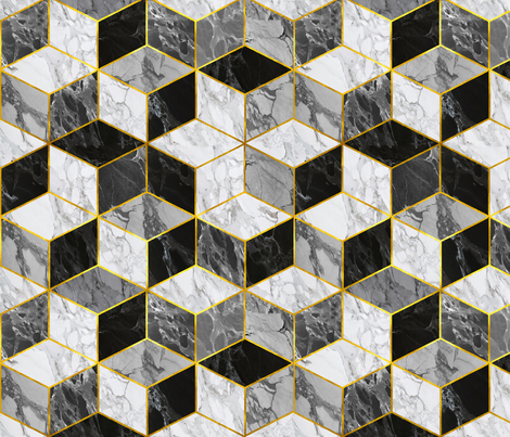 Glided Marble Cubes / Carerra  fabric by willowlanetextiles on Spoonflower - custom fabric