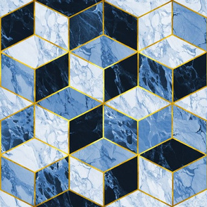 Gilded Marble Cubes / Azure