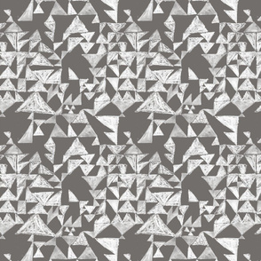 Textured mod triangles in charcoal and white
