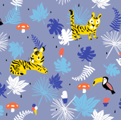 Tropical forest teatime, tiger and toucan