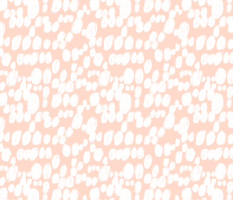 free polka dots brush stroke coral blush cream fabric by canigrin on Spoonflower - custom fabric