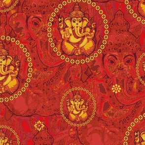 Bejewelled Ganesh Saffron