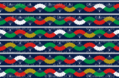 Indigo Fans & Stripes - Multicolour