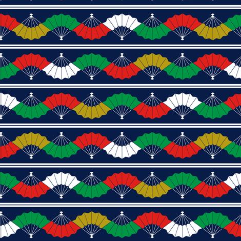 Indigo Fans & Stripes - Multicolour fabric by emerald_of_oz on Spoonflower - custom fabric