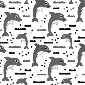 Cute kids dolphin design scandinavian style drawing with geometric crosses and water waves black and white gray XS