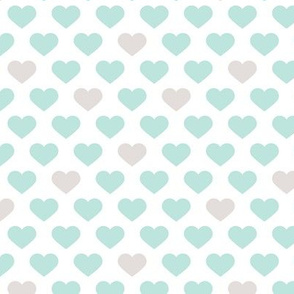 Abstract hearts sweet love valentine wedding theme in pastel mint gray white