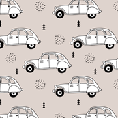 Cool vintage oldtimer cars paris collection geometric scandinavian illustration design for kids beige