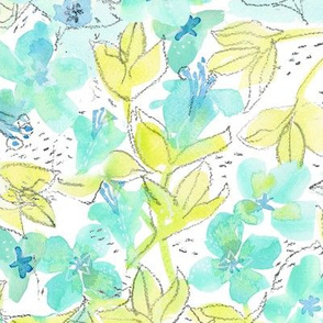 Watercolor Minty Lime Floral