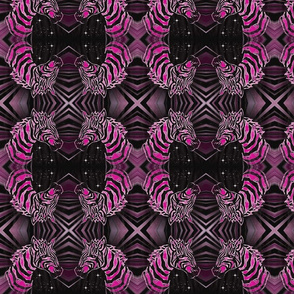 African Zebra Block print: hot pink/black Zebra on black
