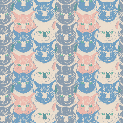 Cats pastell fabric by susiprint on Spoonflower - custom fabric