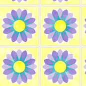 Cheater Quilt Sunflower 8in Lilac Yellow Aqua