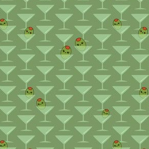 Kawaii Olives in Martini Glasses