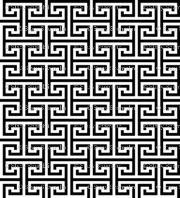 1:6 Greek Labyrinth-Black On White