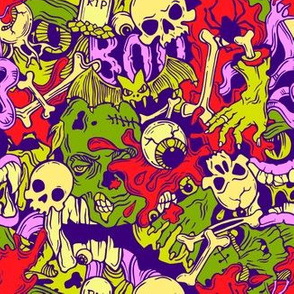 Seamless halloween pattern with horror elements______________________________