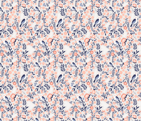 The first birds of spring - blue fabric by ewa_brzozowska on Spoonflower - custom fabric