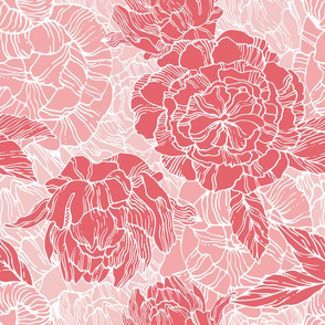 Red and pink peonies