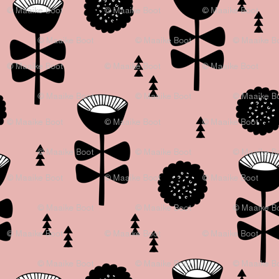 Scandinavian retro poppy flowers summer abstract poppy floral black and white pink