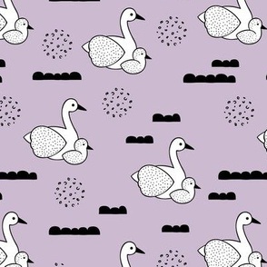Geometric Scandinavian style spring swan birds mother and baby violet