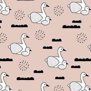 Geometric Scandinavian style spring swan birds mother and baby gender neutral beige