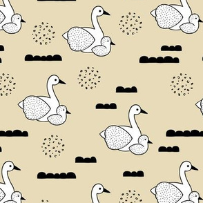 Geometric Scandinavian style spring swan birds mother and baby pastel yellow