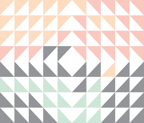 Triangle Quilt Top // peach/pink/mint/grey fabric by littlearrowdesign on Spoonflower - custom fabric