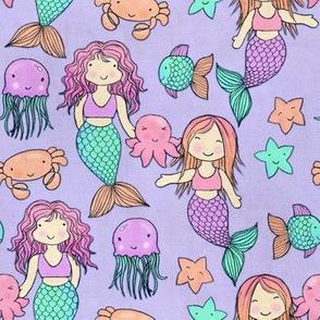 Cute Kawaii Mermaids and Sea Creatures on Purple