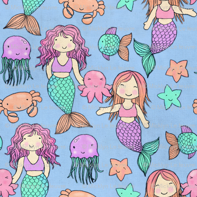 Cute Kawaii Mermaids And Sea Creatures On Blue Fabric