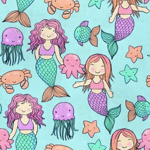 Cute Kawaii Mermaids and Sea Creatures on Mint
