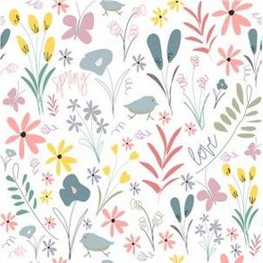 Spring Florals - white
