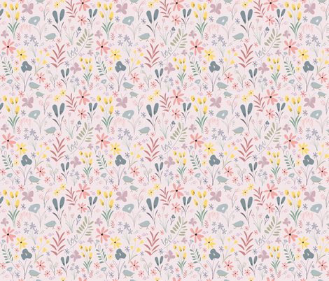 Spring Florals - Blush fabric by jenellebotts on Spoonflower - custom fabric