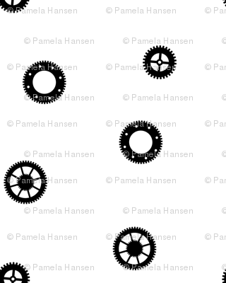 black and white gears