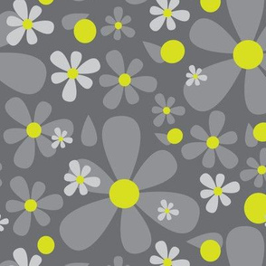 Scandinavian Daisy Flower || Floral Dark charcoal Gray grey Lime yellow green _Miss Chiff Designs