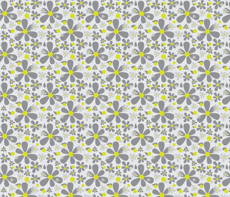 15-01B Graphic Scandinavian Daisy Flower || Floral Dark charcoal Gray grey Lime yellow green _Miss Chiff Designs fabric by misschiffdesigns on Spoonflower - custom fabric