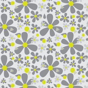 Graphic Scandinavian Daisy Flower || Floral Dark charcoal Gray grey Lime yellow green _Miss Chiff Designs