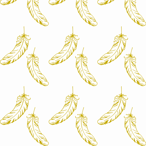 mustard yellow feathers fabric by lilcleo on Spoonflower - custom fabric