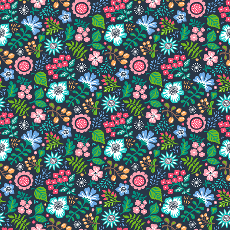 Bohemian Botanical Flowers Floral on Navy Small Tiny fabric by caja_design on Spoonflower - custom fabric