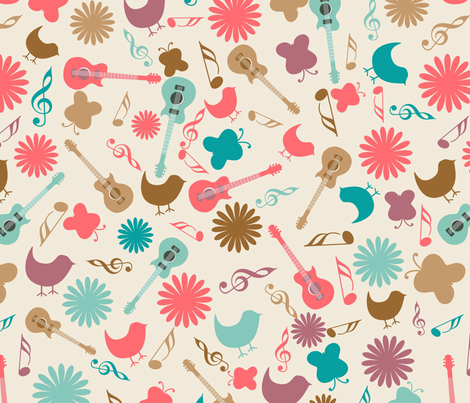Retro Music Festival fabric by puggy_bubbles on Spoonflower - custom fabric