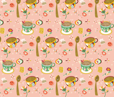 Tea Time fabric by ginamayes on Spoonflower - custom fabric