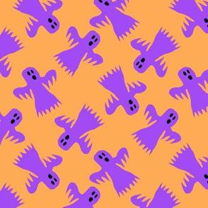 Ghost Purple on Orange Halloween