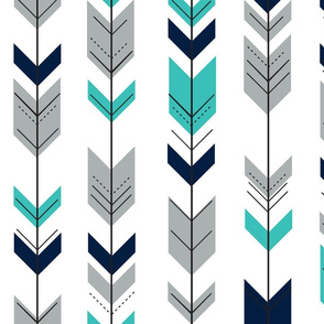 Fletching arrows // grey/navy/turquoise