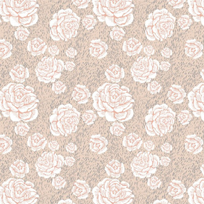 wood cut roses - white/blush