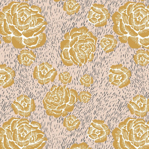 wood cut roses - gold/grey/blush