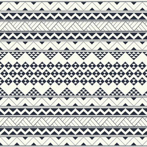 Tribal Polynesian zigzag and triangular black on white