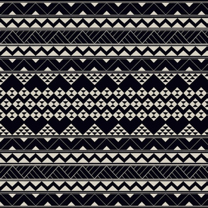 Tribal Polynesian zigzag and triangular white on black