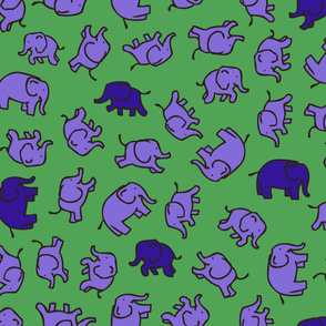 Elephants - Green, Lilac & Blue