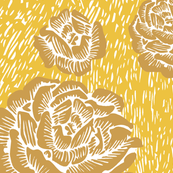 wood cut roses - gold/white/sun